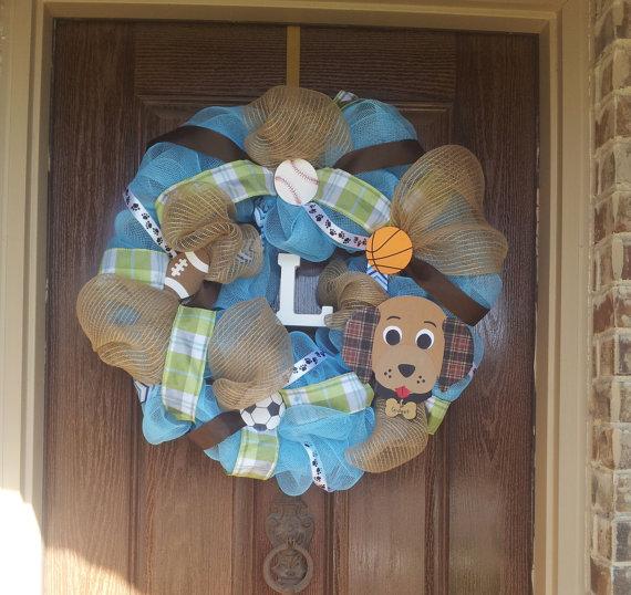 sports baby shower wreath