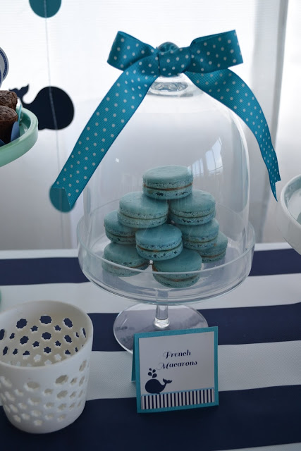 nautical-whale-baby-shower-macarons