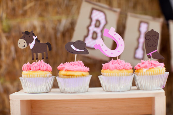 cowgirl baby shower cupcake toppers