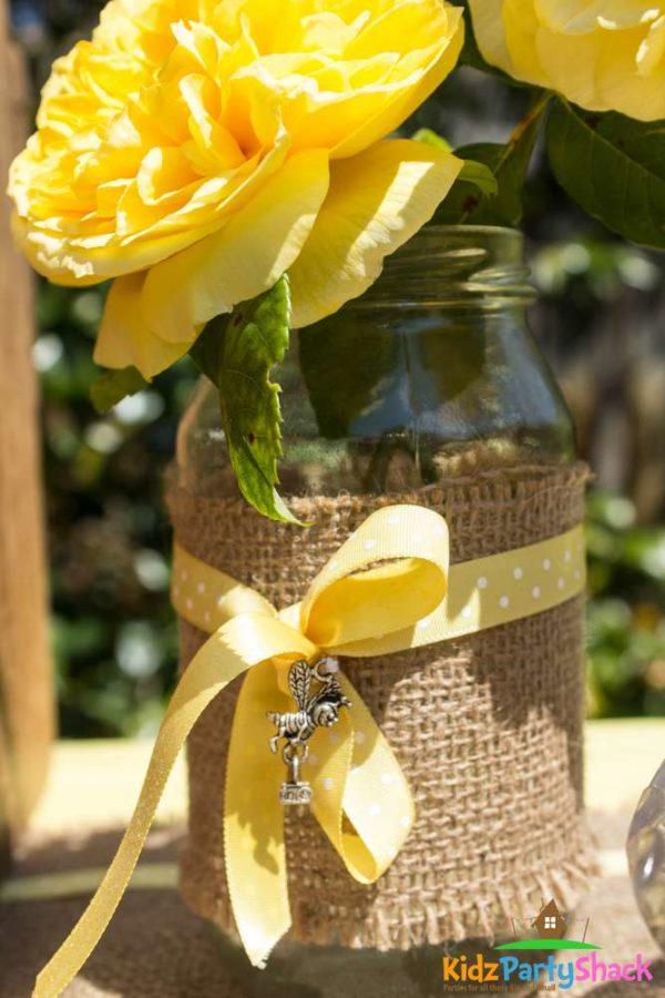 backyard-bumblebee-baby-shower-floral-mason-jar