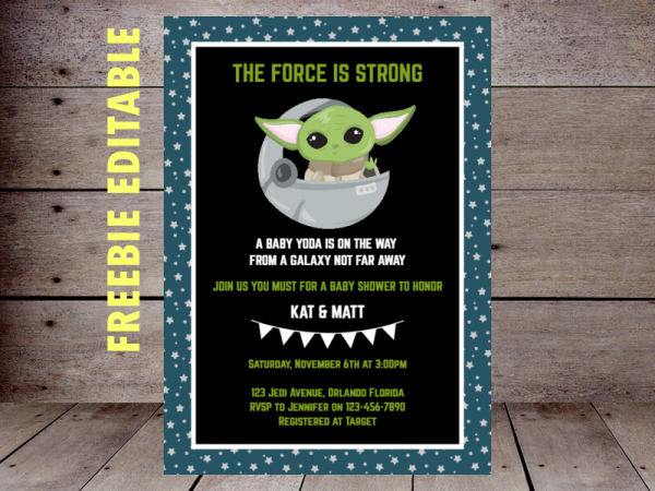 FREE editable baby yoda baby shower invitation