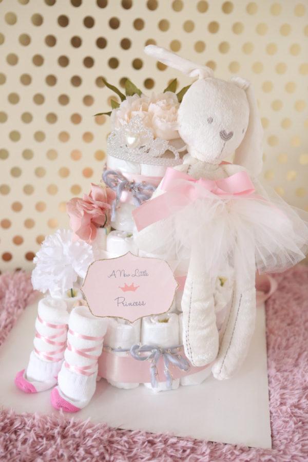 princess-baby-shower-diaper-cake-ballerina-elegant-pink-ivory-bunny