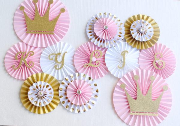 princess-baby-shower-paper-rosettes-backdrop-fans-pink-silver-gold