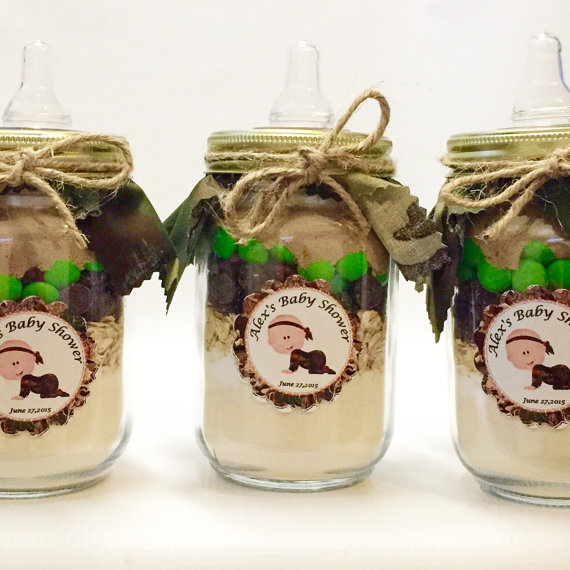 camo baby shower bottle party favors