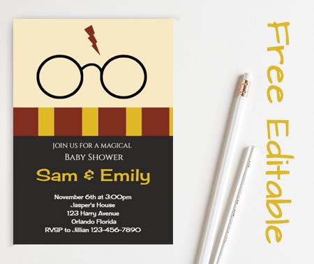 free Editable harry potter baby shower invitation