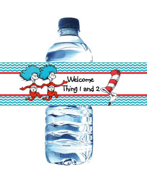 thing1 and thing2 water bottle labels