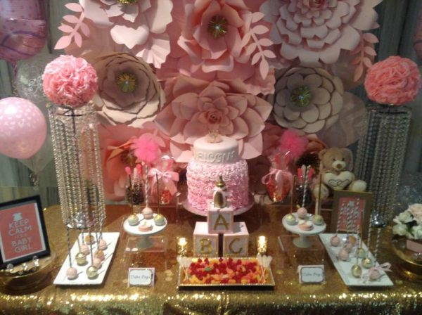 Glamorous Pink Floral Baby Shower dessert table