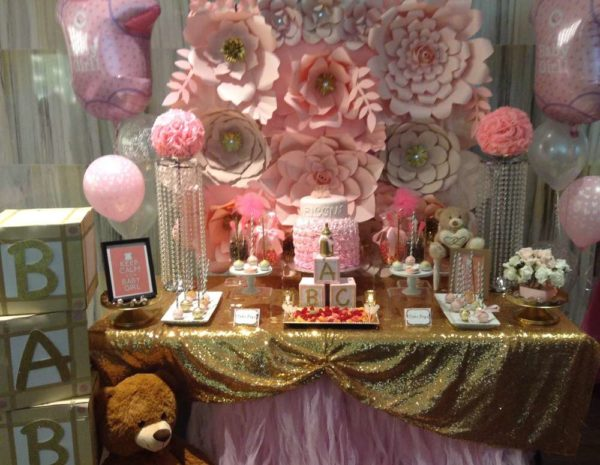 Glamorous Pink Floral Baby Shower backdrop