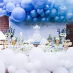 Luscious Blue and Gold Carousel Baby Shower