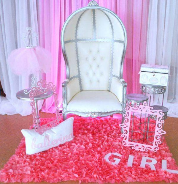 pretty-pink-ballerina-baby-shower-white-chair