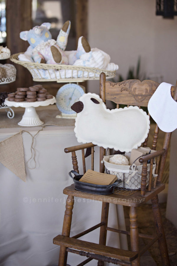 vintage-lamb-baby-shower-wooden-highchair