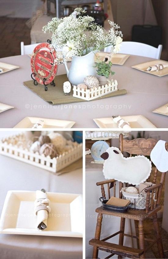 burlap Vintage Lamb Baby Shower tablescape
