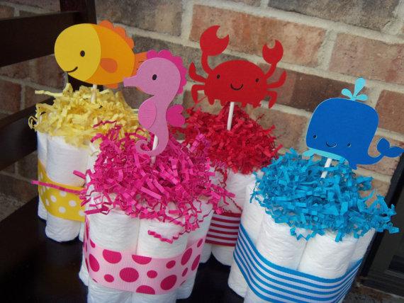 sea creature diaper cakes