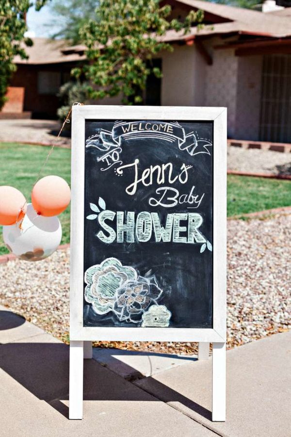 Mint and Peach Blooming Baby Shower chalkboard sign