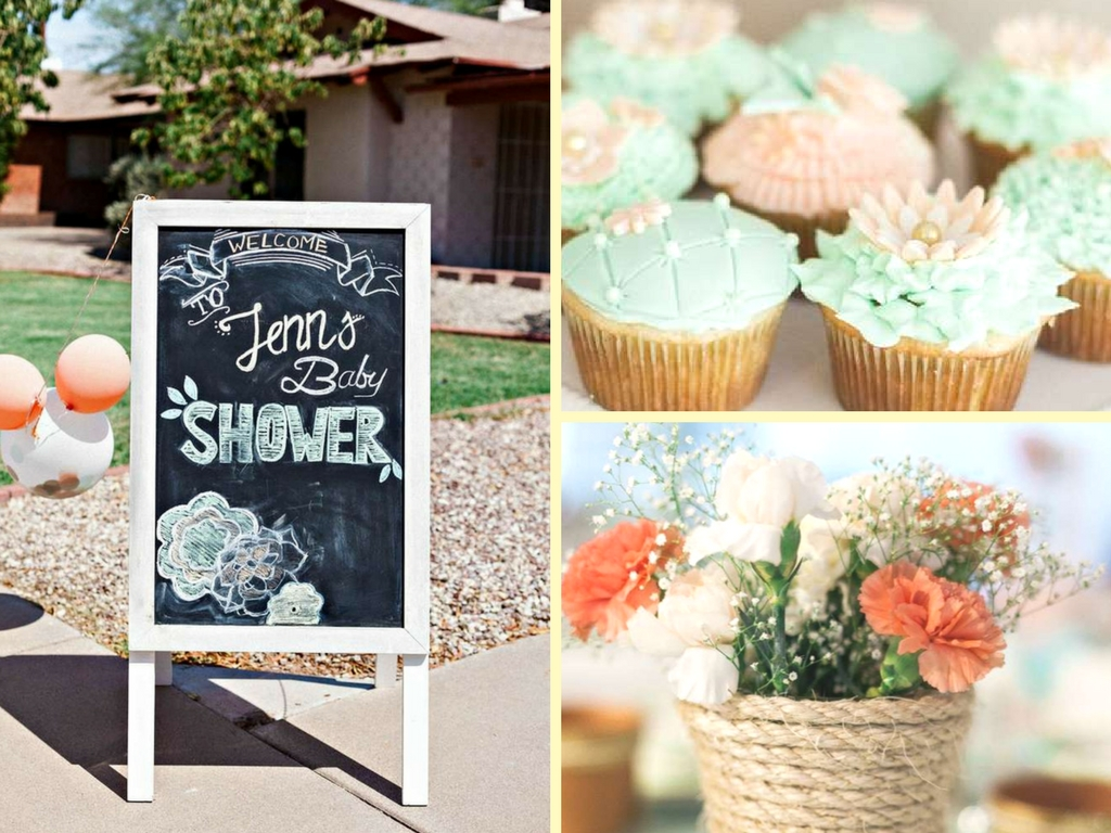 Mint and Peach Blooming Baby Shower