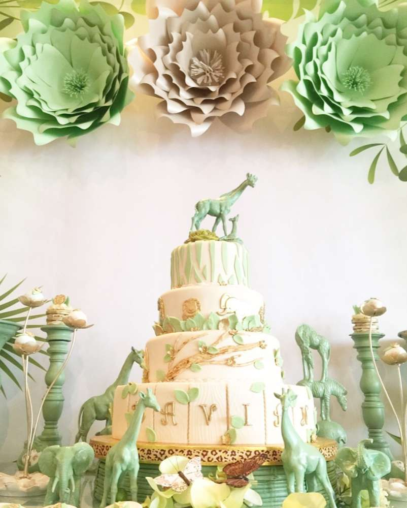 mint-green-jungle-baby-shower-cake