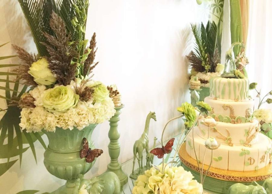 mint-green-jungle-baby-shower-flower-bouquets