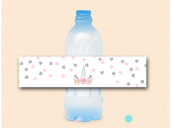 tlc556s-water-bottle-label-silver-pink-unicorn