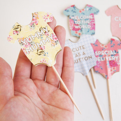 vintage baby shower cupcake toppers
