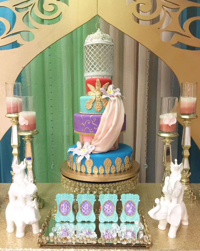 floral-moroccan-princess-baby-shower-tiered-cake
