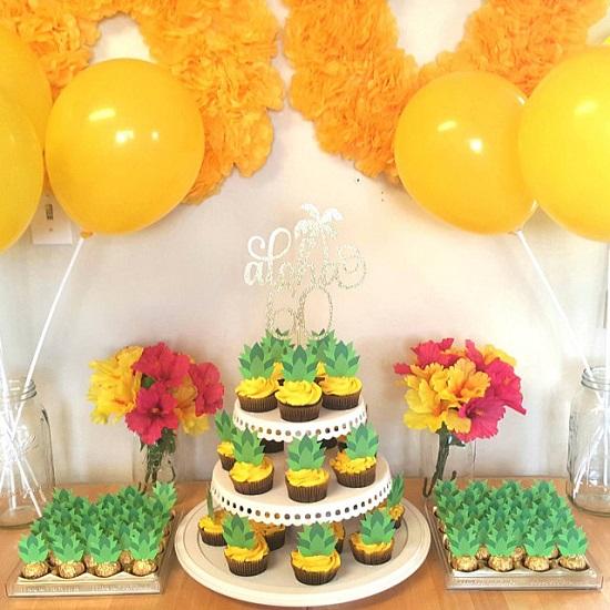 Pineapple Tops Cupcake Toppers printable