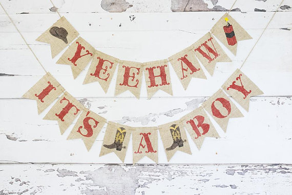western themed baby shower banner