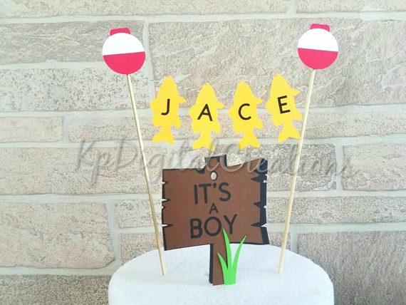 its a boy gone fishing cake topper decor