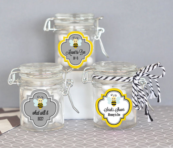 bee baby shower favor gift jars