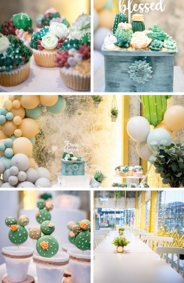 Peach and Green Succulent baby shower