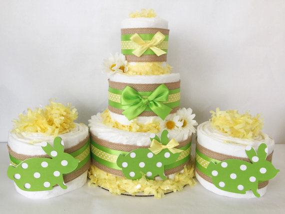 Easter Baby Shower diaper cakes