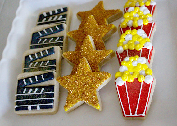 hollywood baby shower movie cookies