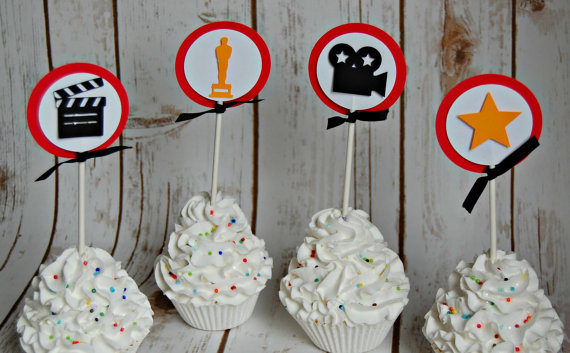 Hollywood baby shower cupcake toppers
