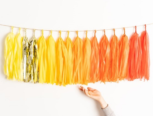 Yellow Orange Gold Tassel Garland Baby Shower