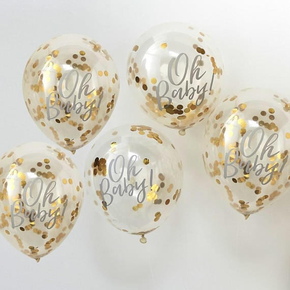 Gold Confetti Oh Baby balloons