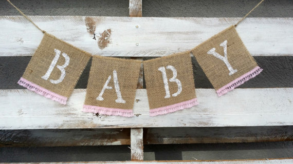 shabby chic burlap and lace banner