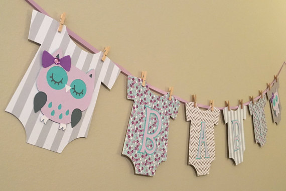 Owl baby shower banner