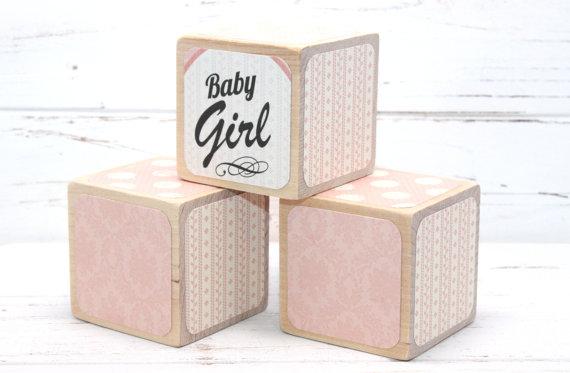 shabby chic baby shower baby blocks