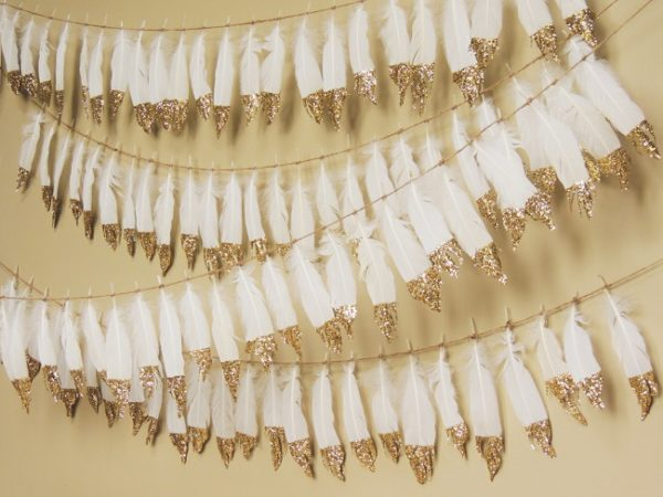 bohemian-baby-shower-feather-gold-dipped-banner