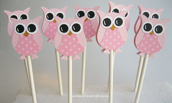 pink owl baby shower cupcake toppers