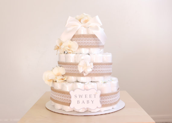 shabby chic lace and burlap diaper cake