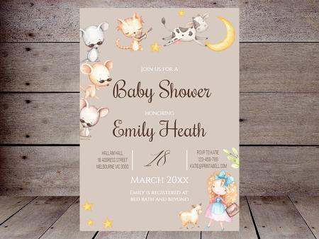 editable Nursery Rhyme Baby Shower invitations