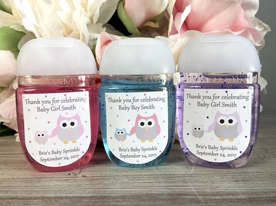 owl baby shower favor handsanitizer labels