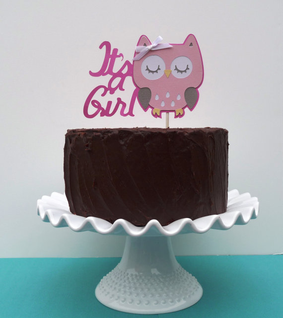 pink owl its a girl cake topper