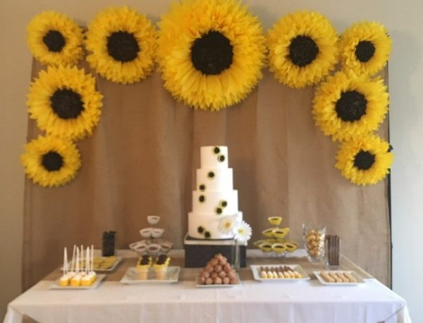 paper sunflower backdrop Summer Baby Shower Ideas