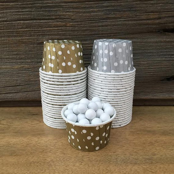 silver and gold baby shower paper snack cups