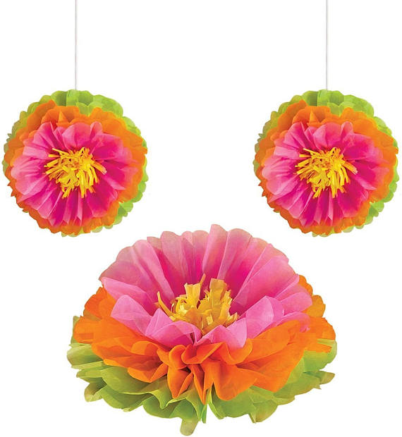 tropical baby shower paper flowers