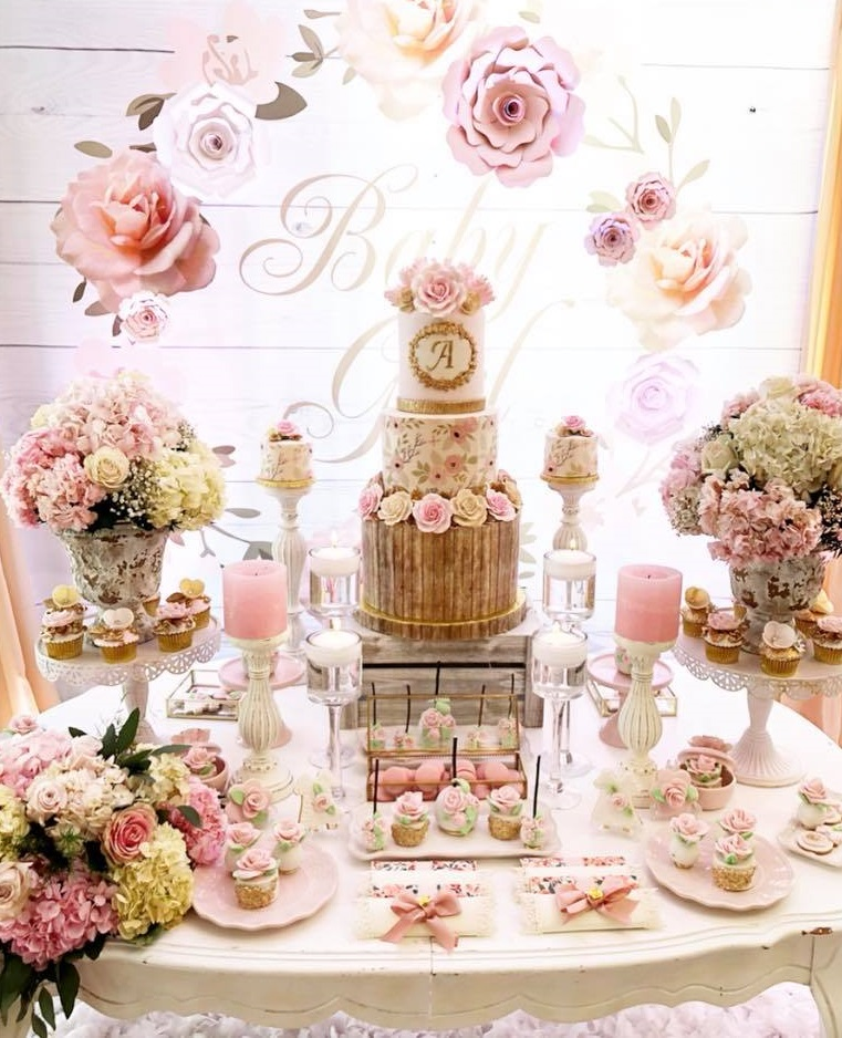 pretty-pink-and-floral-baby-shower-cake