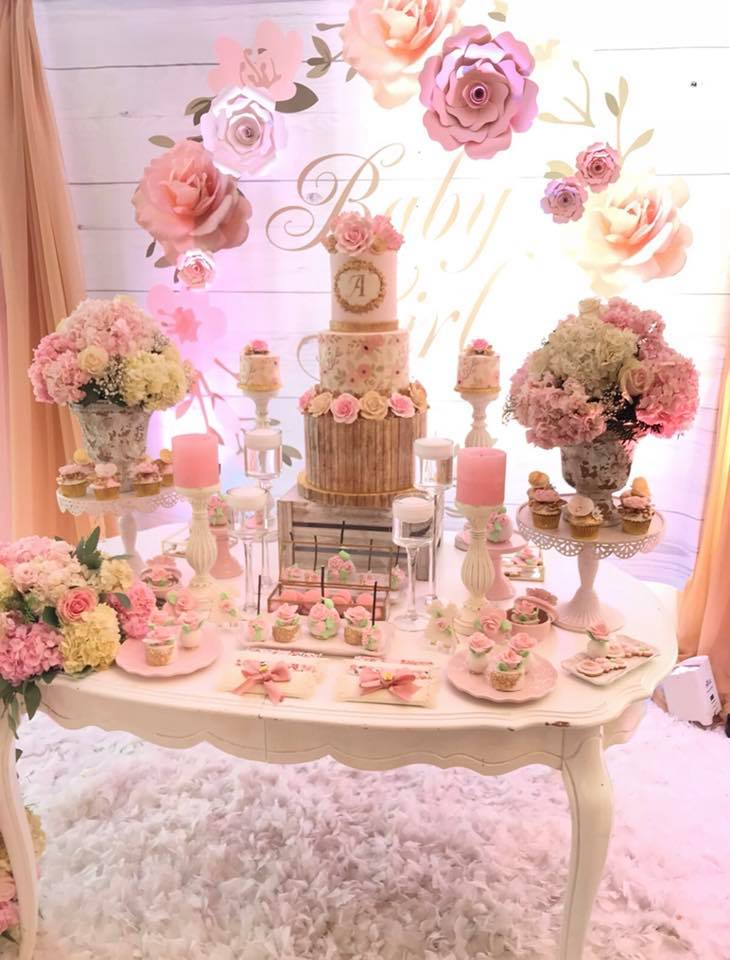 pretty-pink-and-floral-baby-shower-paper-floral-backdrop