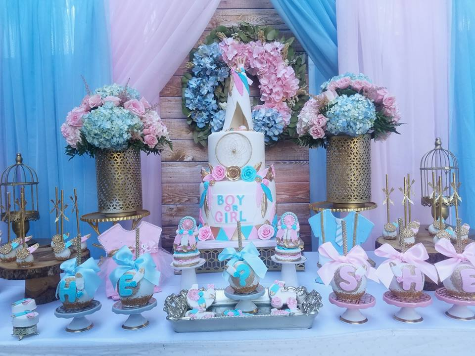 boho-gender-reveal-party-dessert-table