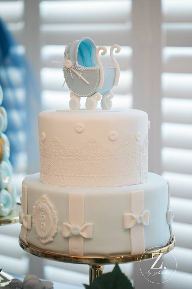 elegant-boy-baby-shower-cake-with-baby-carriage